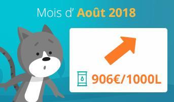 Evolution prix du fioul domestique en août 2018