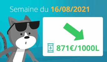 Prix du fioul en France semaine du 16 août 2021